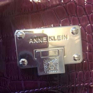 Anne Klein deep red maroon color faux croc bag